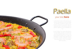 Detail of traditional spanish paella cooked in a pan Stock Photos