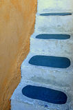 Detail of traditional steps in Oia, Santorini island, Greece Stock Photo