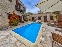 detail of traditional style Holiday apartment with swimming pool stock photo