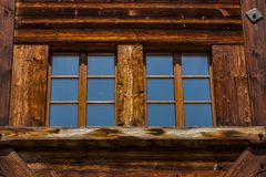 Detail of the traditional Swiss chalet house Stock Photography