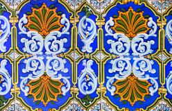 Detail of the traditional tiles from facade of old house. Decorative tiles. Stock Photography