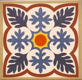 Detail of the traditional tiles from facade of old house. Decorative tiles.Valencian traditional tiles. royalty free stock photo