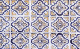Detail of the traditional tiles from facade of old house. Decorative tiles.Valencian traditional tiles. Floral ornament. Spain Royalty Free Stock Image