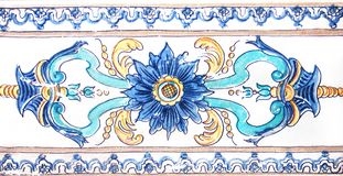 Detail of the traditional tiles from facade of old house. Decorative tiles.Valencian traditional tiles. Floral ornament. Stock Photo