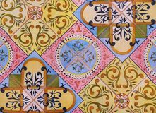 Detail of the traditional tiles from facade of old house. Decorative tiles.Valencian traditional tiles. Floral ornament. Spain. Detail of the traditional tiles Stock Photography