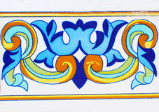 Detail of the traditional tiles from facade of old house. Decorative tiles.Valencian traditional tiles. Floral ornament. Majolica,. Detail of the traditional Stock Photography