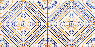 Detail of the traditional tiles from facade of old house. Decorative tiles.Valencian traditional tiles. Floral ornament. Majolica, Stock Photo