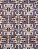 Detail of the traditional tiles from facade of old house. Decorative tiles.Valencian traditional tiles. Floral ornament. Majolica,. Detail of the traditional Stock Photo