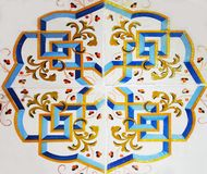 Detail of the traditional tiles from facade of old house. Decorative tiles.Valencian traditional tiles. stock photos