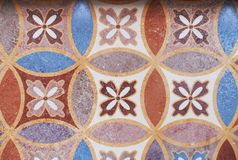 Detail of the traditional tiles from facade of old house. Decorative tiles.Valencian traditional tiles. Floral ornament. Stock Photos