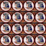 Detail of the traditional tiles from facade of old house. Decorative tiles.Valencian traditional tiles. Floral ornament. Spain Royalty Free Stock Photos