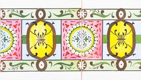 Detail of the traditional tiles from facade of old house. Decorative tiles.Valencian traditional tiles. Floral ornament. Spain. Detail of the traditional tiles Stock Photos