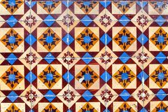 Detail of traditional  tiles on facade of old house Royalty Free Stock Photos