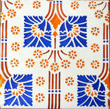 Detail of the traditional tiles from facade of old house in Valencia, Spain Royalty Free Stock Image