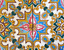 Detail of the traditional tiles from facade of old house in Valencia, Spain Stock Photography