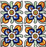 Detail of the traditional tiles from facade of old house in Valencia Royalty Free Stock Photo