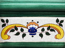 Detail of the traditional tiles from facade of old house in Valencia Stock Photography