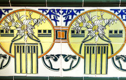 Detail of the traditional tiles from facade of old house in Valencia Royalty Free Stock Images