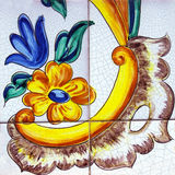 Detail of the traditional tiles from facade of old house in Valencia, Spain Royalty Free Stock Images
