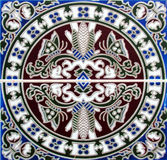 Detail of the traditional tiles from facade of old house in Valencia, Spain Stock Photo