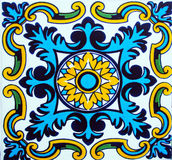 Detail of the traditional tiles from facade of old house in Valencia, Spain Stock Images
