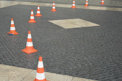 Detail of traffic cone with coat of arms of Barcelona City Stock Photography