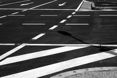 Detail of a traffic lines on asphalt Royalty Free Stock Photo