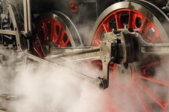 Detail of the train wheels. Detail of the wheels of old steam locomotive Stock Photography