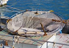 Detail of trawl fishing nets. Trawl in fishing boat in fisherman wharf royalty free stock images