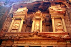 Detail of the treasury building Petra Royalty Free Stock Images