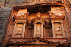 Detail of The Treasury, Petra. Al Khazneh (The Treasury; Arabic: الخزنة‎) is one of the most elaborate temples in the ancient Jordanian city of Petra. As Royalty Free Stock Photo