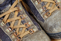 Detail of trekking shoes. Close up image on classic used trekking shoes royalty free stock images