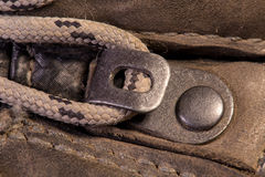 Detail of trekking shoes hook and loop. Stock Photography