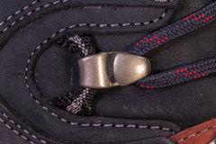 Detail of trekking shoes hook and loop. Stock Images