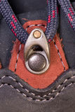 Detail of trekking shoes hook and loop. Royalty Free Stock Photos