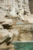 Detail of Trevi fountain in Rome. Winged horse and triton, detail of Trevi fountain in Rome, Italy stock photo