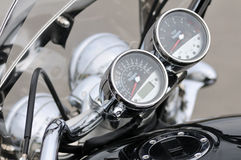 Detail of Triumph motorbike in a parking Stock Photography
