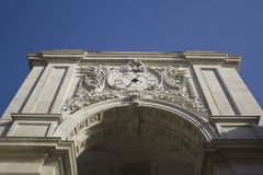 Detail of the triumphal Arch of Augusta Street, Lisbon. Portugal Stock Photo
