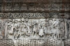 Detail of triumphal arch of Galerius - Thessaloniki. Triumphal arch of Galerius in Thessaloniki greece. Detail of the marble sculptures at the main pillars of stock photography