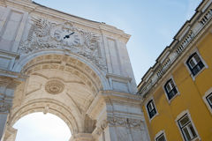 Detail of the Triumphal Arch in Lisbon, Portugal Royalty Free Stock Photos