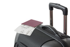Detail of Trolley suitcase with passport Stock Photos