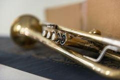 Jazz Trumpet valves. Detail of trumpet closeup. Golden trumpet valves Royalty Free Stock Images