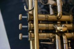 Jazz Trumpet valves. Detail of trumpet closeup. Golden trumpet valves Stock Photo
