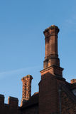 Detail of Tudor architecture exterior wall and rooftop Stock Photo