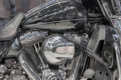 Detail of Twin engine of motorcycle, indoor photo. Royalty Free Stock Images