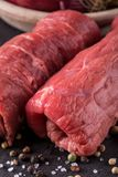 Detail of two beef slices prepared for roulade Royalty Free Stock Photo