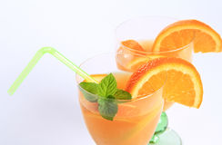 Detail of two bright  cocktails Stock Photos