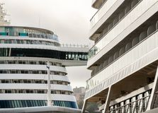 Detail of two large cruise ships in harbor in Funchal Royalty Free Stock Images
