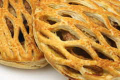 Detail of two meat pies. With decorated top Royalty Free Stock Photos