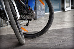 Detail of two modern bicycle wheels Royalty Free Stock Photos